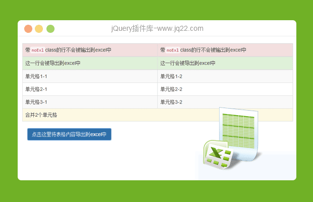 jQuery HTML导出Excel插件table2excel